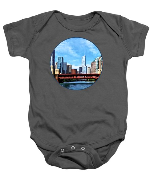 Chicago Il - Lake Shore Drive Bridge Baby Onesie by Susan Savad