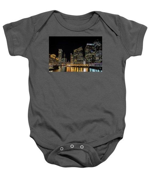 Chicago Night Skyline From Wolf Point Baby Onesie
