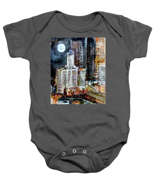 Chicago Night Wrigley Building Art Baby Onesie