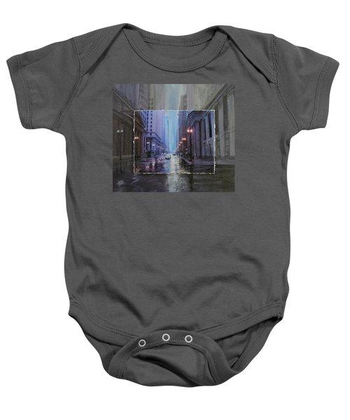 Chicago Rainy Street Expanded Baby Onesie