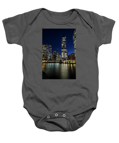 Chicago River And Skyline At Dusk  Baby Onesie