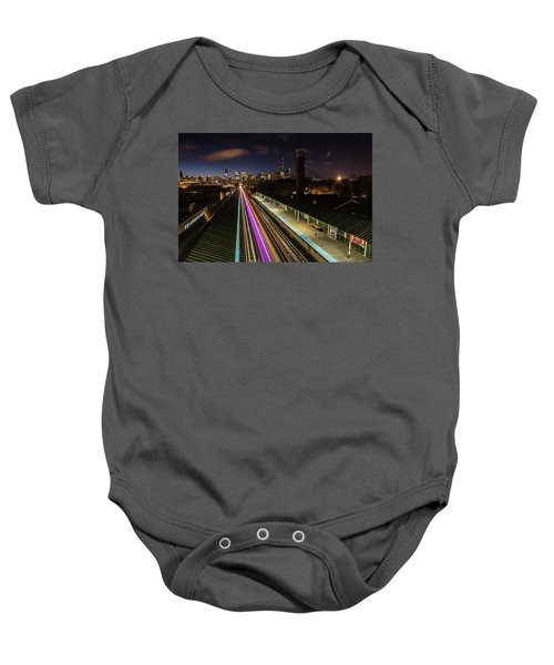 Chicago Skyline And Train Lights Baby Onesie