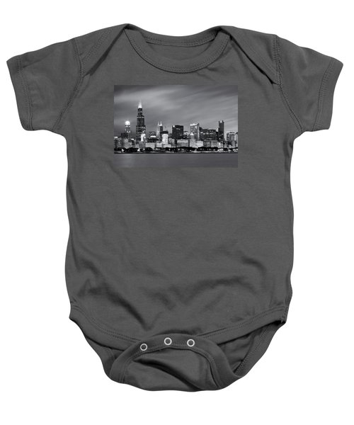 Baby Onesie featuring the photograph Chicago Skyline At Night Black And White  by Adam Romanowicz