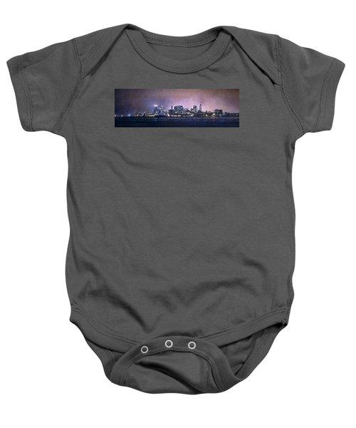 Chicago Skyline From Evanston Baby Onesie by Scott Norris