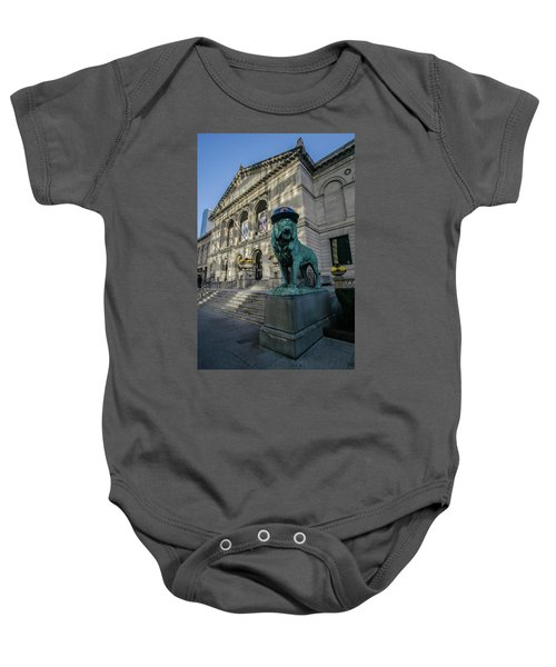 Chicago's Art Institute With Cubs Hat Baby Onesie