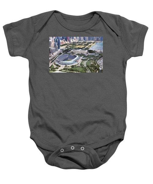 Baby Onesie featuring the photograph Chicago's Soldier Field by Adam Romanowicz