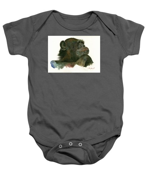 Chimp Portrait Baby Onesie by Juan Bosco