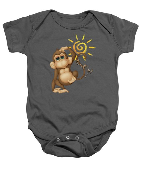 Chimpanzees, Mother And Baby Baby Onesie by Maria Astedt