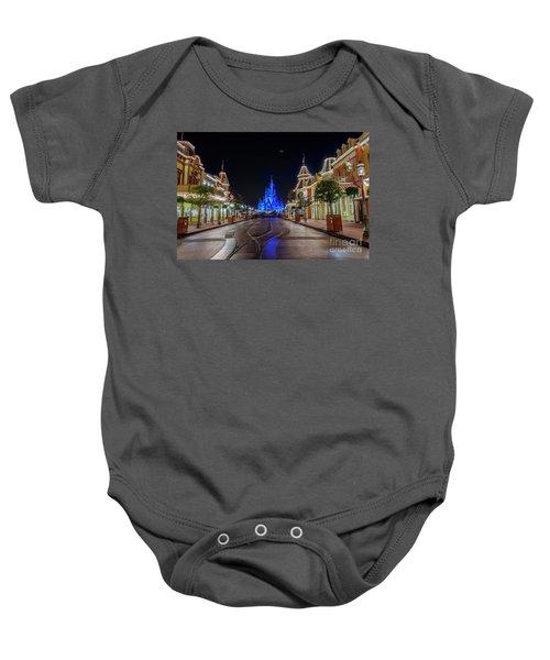 Cinderella Castle Glow Over Main Street Usa Baby Onesie