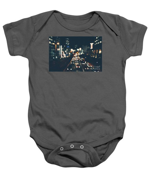 Baby Onesie featuring the photograph City Lights by MGL Meiklejohn Graphics Licensing