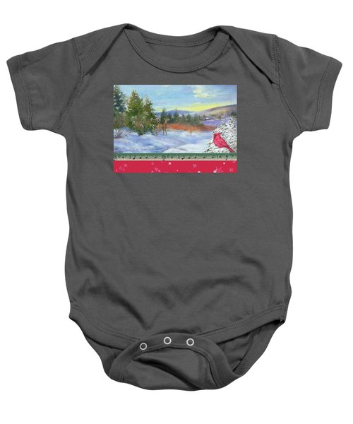Classic Winterscape With Cardinal And Reindeer Baby Onesie