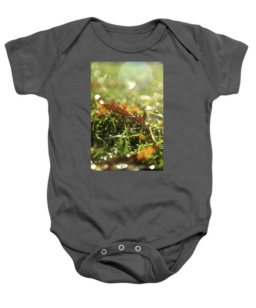 Close-up Of Dry Leaves On Grass, In A Sunny, Humid Autumn Morning Baby Onesie