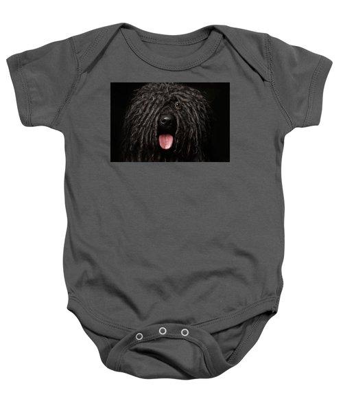 Close Up Portrait Of Puli Dog Isolated On Black Baby Onesie