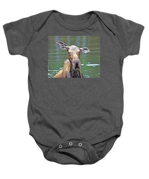 Close Wet Moose Baby Onesie