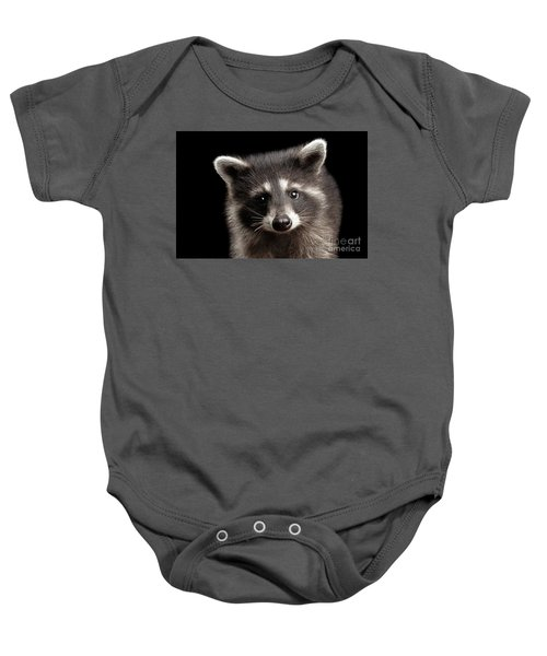 Closeup Portrait Cute Baby Raccoon Isolated On Black Background Baby Onesie