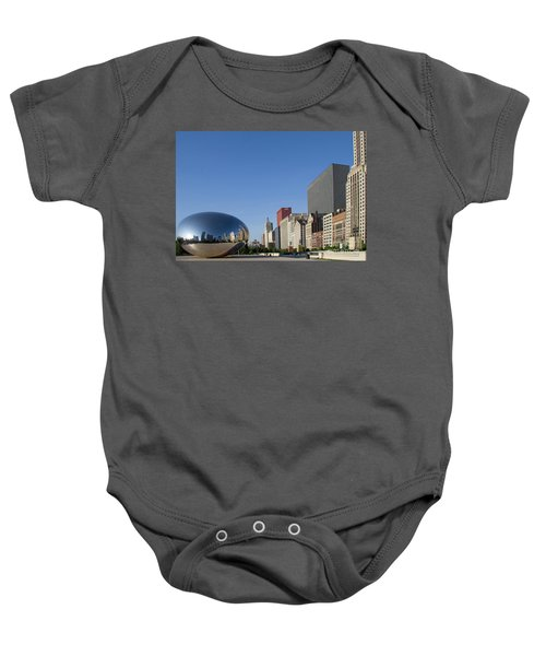 Cloudgate Reflects Michigan Avenue  Baby Onesie