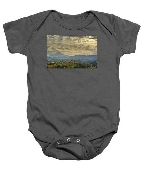 Clouds And Sun Rays Over Mount Hood And Hood River Oregon Baby Onesie
