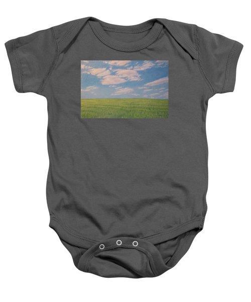 Clouds Over Green Field Baby Onesie