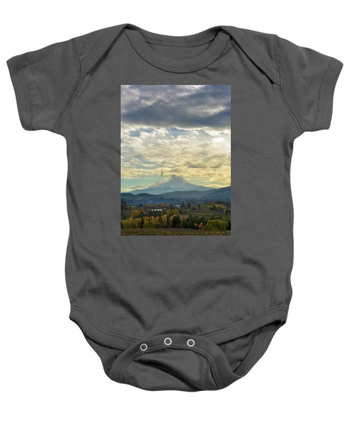 Cloudy Day Over Mount Hood At Hood River Oregon Baby Onesie