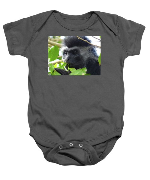Colobus Monkey Eating Leaves In A Tree Close Up Baby Onesie