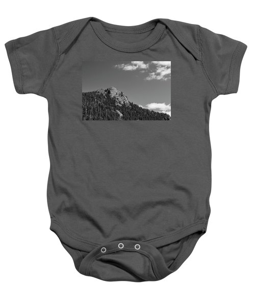 Baby Onesie featuring the photograph Colorado Buffalo Rock With Waxing Crescent Moon In Bw by James BO Insogna