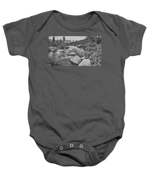 Colorado Indian Peaks Wilderness Panorama Bw Baby Onesie
