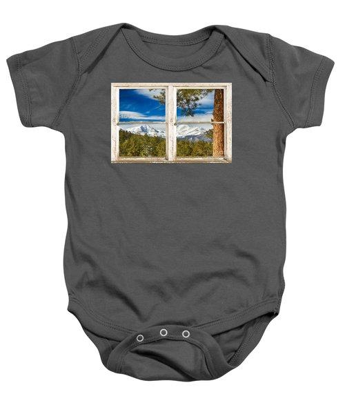 Colorado Rocky Mountain Rustic Window View Baby Onesie