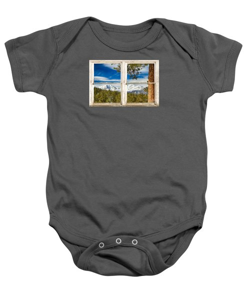 Colorado Rocky Mountain Rustic Window View Baby Onesie