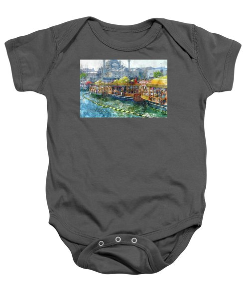 Colorful Boats In Istanbul Turkey Baby Onesie