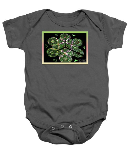 Colorful Rosette In Pink-green Baby Onesie