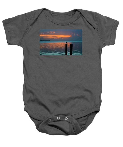 Conch Key Sunset Bird On Piling Baby Onesie