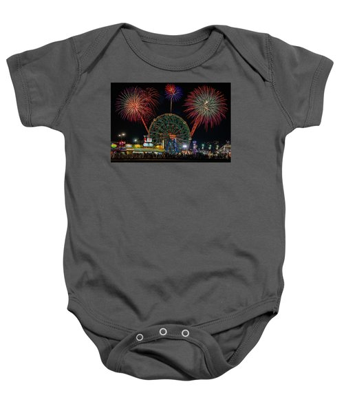 Coney Island At Night Fantasy Baby Onesie