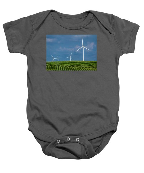 Corn Rows And Windmills Baby Onesie