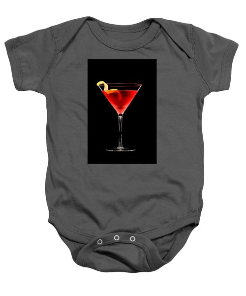 Cosmopolitan Cocktail In Front Of A Black Background  Baby Onesie