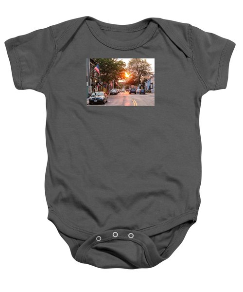 Cottage Street Summer Sunset Baby Onesie