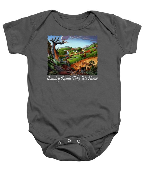 Country Roads Take Me Home T Shirt - Autumn Wheat Harvest 2 Country Farm Landscape Baby Onesie