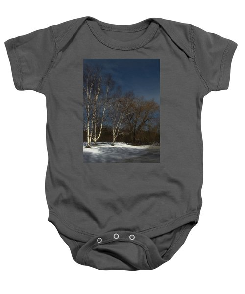 Country Roadside Birch Baby Onesie