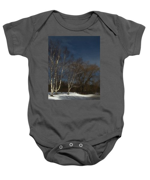 Country Roadside Birch Baby Onesie