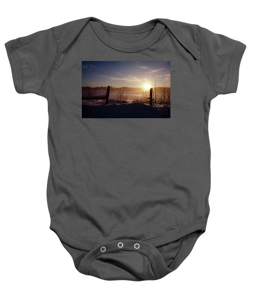 Country Winter Sunset Baby Onesie