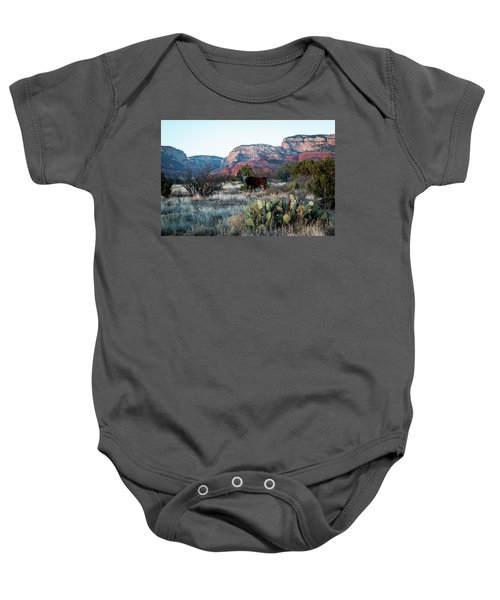 Cow At Red Rock Baby Onesie