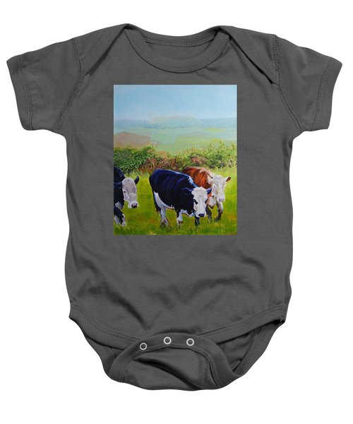 Cows And English Landscape Baby Onesie