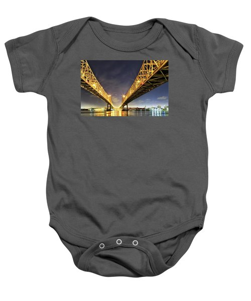 Crescent City Bridge In New Orleans Baby Onesie