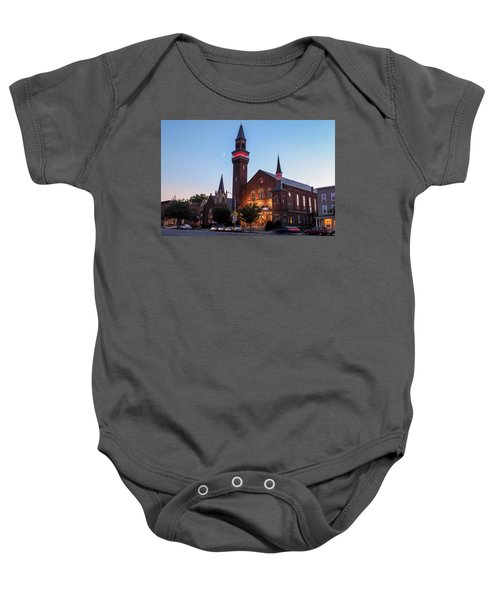 Crescent Moon Over Old Town Hall Baby Onesie