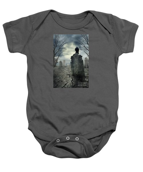 Crow On The Tombstone Baby Onesie