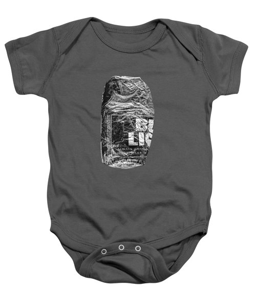 Crushed Blue Beer Can On Plywood 78 In Bw Baby Onesie