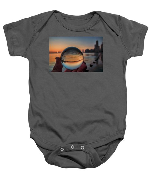 Crystal Ball On Chicago's Lakefront At Sunrise Baby Onesie