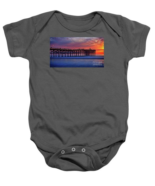 Crystal Pier In Pacific Beach Decorated With Christmas Lights Baby Onesie
