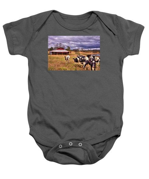 Dairy Heifer Groupies The Red Barn Dairy Farming Art Baby Onesie