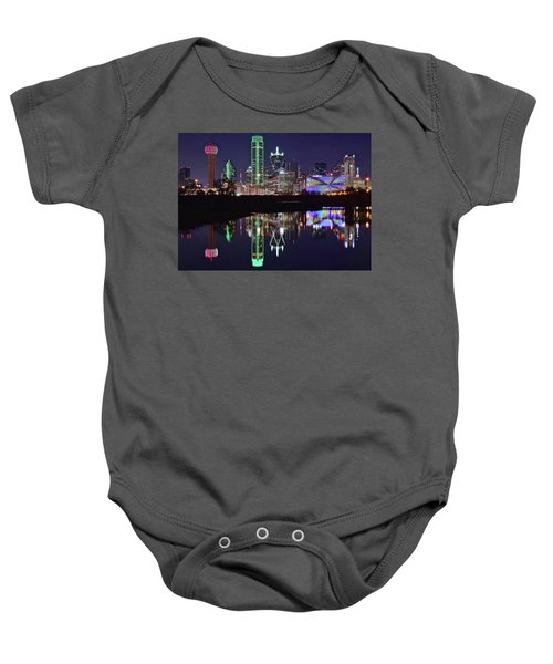 Dallas Reflecting At Night Baby Onesie by Frozen in Time Fine Art Photography