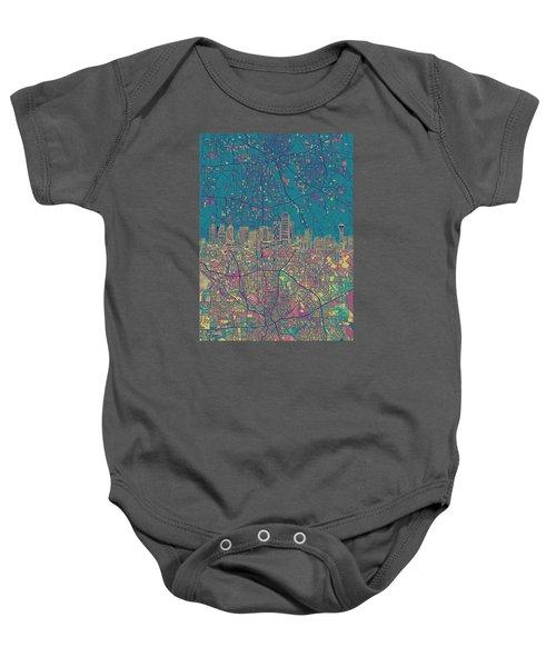 Dallas Skyline Map Green Baby Onesie